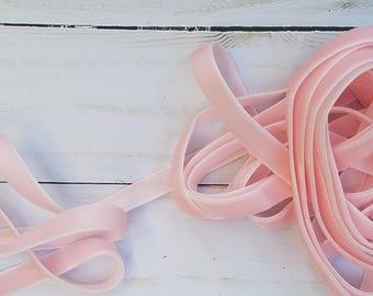 3/8 Pearl Pink Velvet NON ELASTIC Ribbon