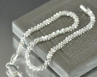 Unisex bracelet sterling silver Bracelet 7 inch Fancy design, Made in Italy, italian chain