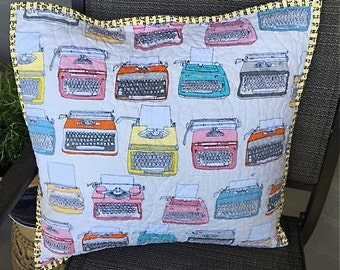 Modern Decorative Patchwork Quilted Pillow Cover Hipster Style Just My Type Fabric Collection by Windham with Typewriters Pencils Glasses
