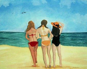 Beach art watercolor painting print, Best Friends Forever, beach cottage decor, girls on vacation, giclee matted 8x10