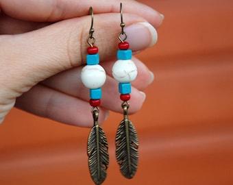Beaded native earrings, Feather earrings, Ethnic jewelry, Dangle earrings, Native american, Colorful Indian jewelry, Multicolor boho Howlite
