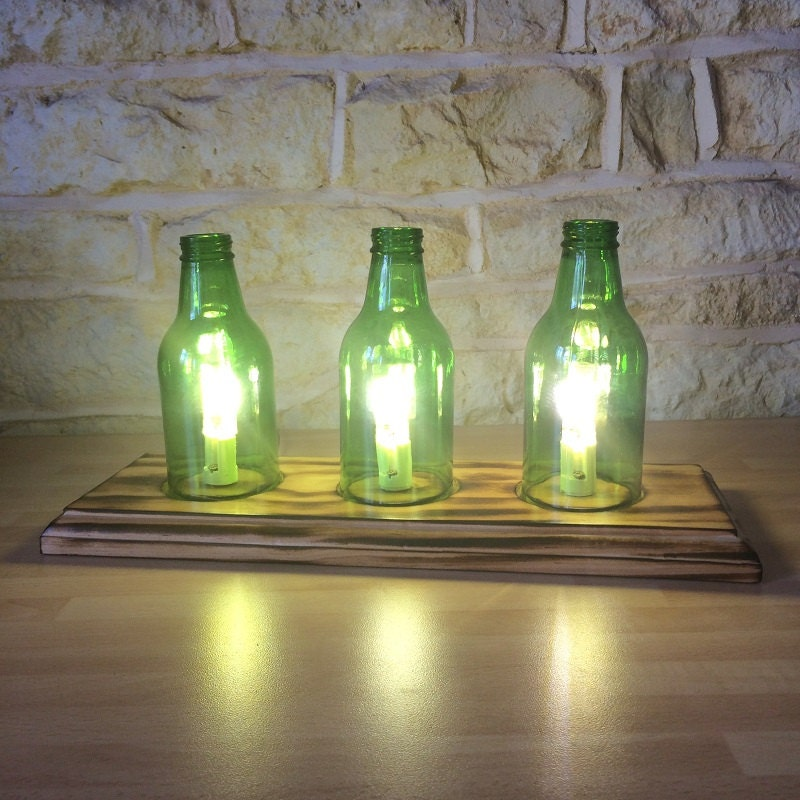 Upcycled Lamp Beer Bottle Lamp Recycled Bottle Modern Lamp Mancave Burnt  Wood