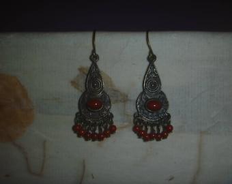 red and bronze tone dangle earrings, ornate vintage dangle earrings