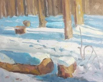Nature Painting. Winter painting original art, Snowy oil painting, Plein air artwork, Landscape art Impressionist painting tree