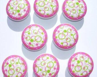 8 PINK GREEN CIRCLES  kids girls  Dresser Drawer Knobs