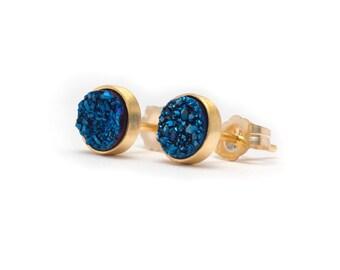 Royal Blue in Yellow Gold Stud Earrings - Druzy / Drusy Quartz Studs - 24k Gold Vermeil Stud Earrings - Round 6mm - Bezel Set Stud Earrings