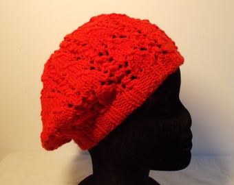 Like the Red lace stitch knit slouch Hat