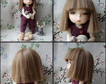 bjd wig doll, short haircut, straight hair with bangs