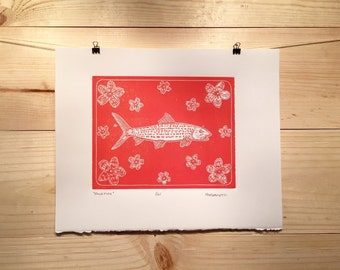 Bonefish fly fishing artwork linocut original by Jonathan Marquardt