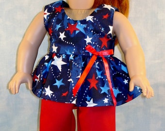 18 Inch Doll Clothes - Stars on Navy 4th of July Shorts Outfit handmade by Jane Ellen