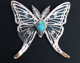 Luna Moth Necklace, Copper and Labradorite, Insect Jewelry,  based on my original drawing, Jamie Spinello