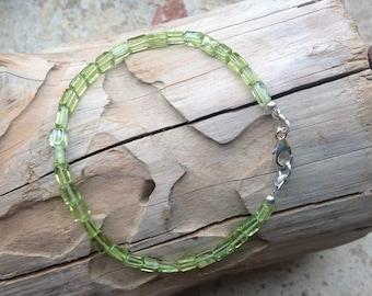 Dainty Green Peridot Bracelet, Gemstone Jewellery, 925 Sterling Silver, Minimalist jeweller, August Birthstone, Wife Gift