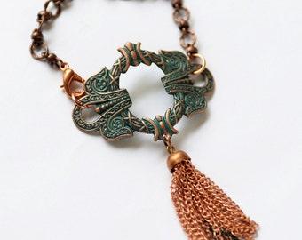 Verdigris Copper Tassel Bracelet, Asian Jewelry, Verdigris Patina Cuff, Copper Bracelet, Green Bracelet, Tassel Cuff, Gift for her, SRAJD