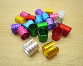 20-100Pcs colorful  dreadlock Beads 7 colors dread hair braid adjustable cuff tube clip 7mm hole