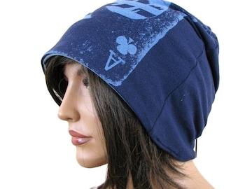 BLAUE Mütze Hut - Ace des Clubs - Slouch Hut - Hipster - Womens Beanie - Mütze Mens Slouchy Beanie - Baggy Beanie - blauen Hut - Slouch Beanie