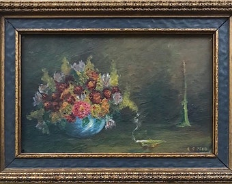 Vintage Signed Original Miniature Oil Painting Still Life with Flowers & Candle by Texas Artist Rosalie Speed
