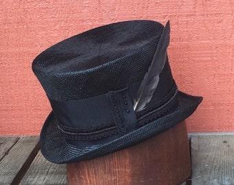 Black Straw Top Hat, Victorian Top Hat, Mad Hatter, Steampunk Hat, Alice in Wonderland, Classic Top Hat