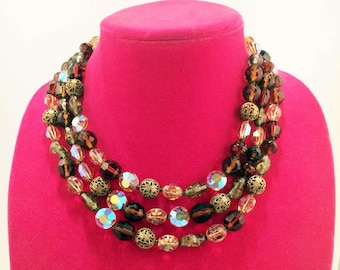 Gorgeous Earthtone Beads and AB Crystal Three Strand Necklace - Vintage Midcentury Glam!