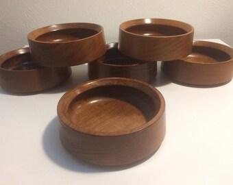 Mid Century Danish Modern Set of Six Dansk Design Denmark IHQ Teak Salad Bowls