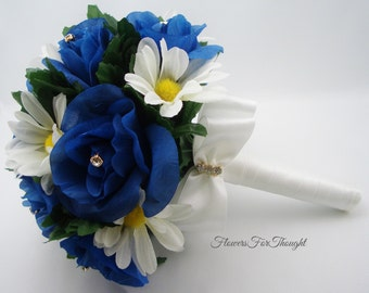 Blue Rose and White Daisy Bouquet, Royal Blue Wedding Flowers, Chasta Daisies