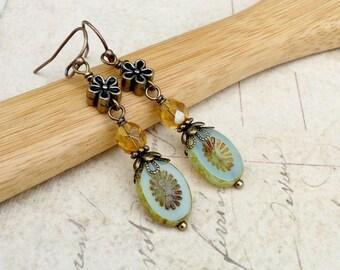 Green Earrings, Pale Green Earrings, Topaz Earrings, Yellow Earrings, Flower Earrings, Czech Glass Beads, Long Flower Earrings, Unique Gifts
