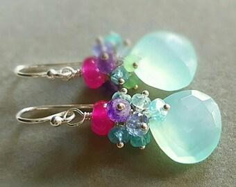 Aqua Chalcedony Colorful Gemstone Cluster Earrings Bridal Earrings Gift for Her