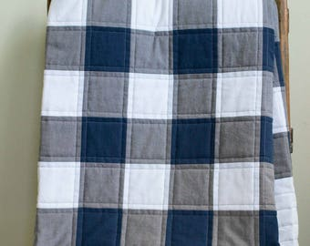 Buffalo Check, Plaid Organic Quilt; Navy, Gray, White Rustic Modern Patchwork Toddler, Throw Quilt; Custom Modern Baby or Wedding Quilt Gift