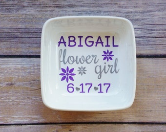 Flower Girl Gift, Flower Girl Proposal, Ring Dish, Bridesmaid Gift, Jewelry Dish, Jewelry Holder, Bridal Party Gift, Personalized Gift