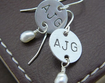 Personalized Initial Earrings - Hand Stamped Sterling Silver - Monogram Earrings with Birthstones or Pearls