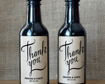 Thank You Wine Labels - Wedding Wine Bottle Label - Wedding Wine Label - Set of 10
