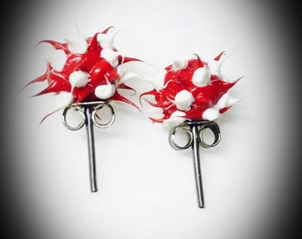vintage rubber spike earrings red and white spiked ball stud post back earrings