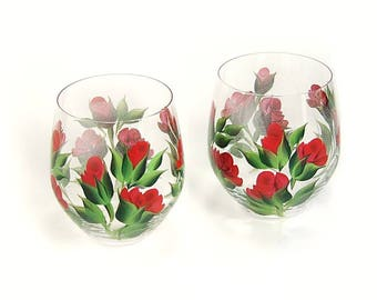 Red Rose Wine Glasses Valentine's Day Gifts Under 50 READY TO SHIP 2 Crystal Wine Glasses 2 Stemless Wine Glasses Gifts Under 50 Dollars