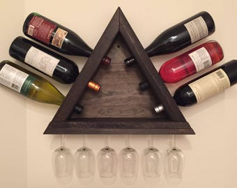 Wooden Wall Mounted Wine Rack with Glass Holder