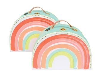 Rainbow Suitcases (2), Meri Meri Rainbow Party Decor, Nesting Play Suitcase, Doll Suitcases, Baby Shower, Pastel Rainbow Nursery Decoration