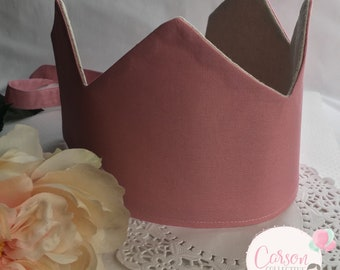 Fabric Crown | Linen | Pink | Princess Crown | Dress up Crown | Birthday Crown