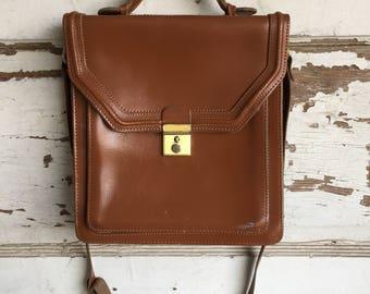 Vintage Leather Saddle Bag Purse - Cross Body Messenger Bag -Medium to Small Size