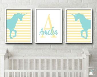 Unicorn print Unicorn art baby name initials unicorn land decor custom colours