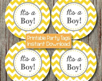 It's a Boy Baby Shower Cupcake Toppers Printable Stickers Yellow Grey Chevron Favor Tags Labels INSTANT DOWNLOAD diy Decorations 154