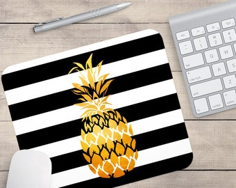 Faux Gold Foil Pineapple Mouse Pad, Glitz Mouse Pad, Black and White Stripes Mouse Pad, Personalized Mouse Pad, Name On Mouse Pad (0076)