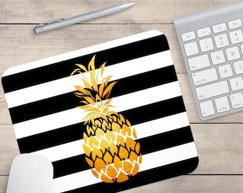 Goldfolie-Ananas-Maus-Pad, Glitzer-Maus-Pad, schwarz und weiß Streifen-Maus-Pad, personalisierte Maus-Pad, Name auf Maus-Pad (0076)