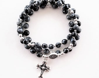 Black Snowflake Obsidian Stretch Rosary Bracelet
