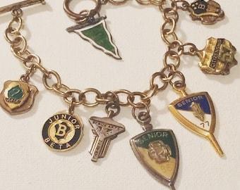 School Charm Bracelet, Teacher Gift, Back To School Jewelry, NC State, Vintage School Charms