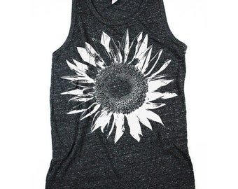 Men Sunflower Tank Top, Mens Tank Top, Black and White, Sunflowers Shirt, Black Sunflower Shirt, Small, Medium, Large, XL, 2XL