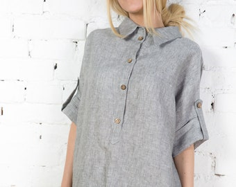 Linen dress linen shirt dress grey linen dress plus size linen dress maternity dress LINEN/LD0027