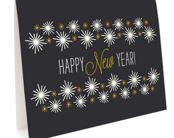 Golden New Year Folded Holiday Cards, Box of 10 - Happy New Year - OC1147-BX