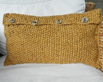 Mustard yellow knitted rectangular Cushion cover