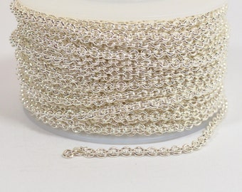 Oval Cable Chain - Silver Plated - 2.2mm x 2.8mm Links - CH156 - Choose Your Length