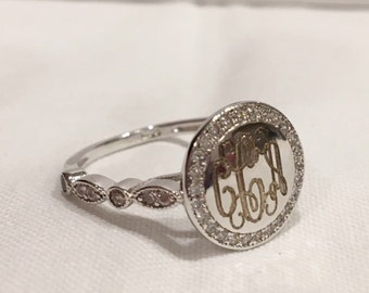 Monogrammed Ring,Sterling Silver CZ Ring, Engraved Ring
