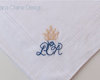 Crowned . Hand-embroidered Handkerchief