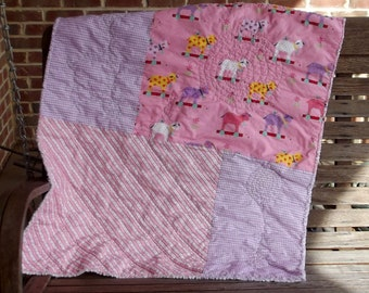 Playful and Pink  Baby Girl Quilt